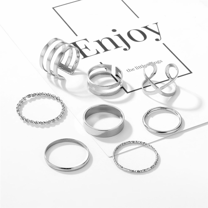 Оригинальный дизайн золотистого цвета, круглые полые геометрические кольца, набор для женщин, модное перекрестное кольцо, Открытое кольцо, женское ювелирное изделие 3