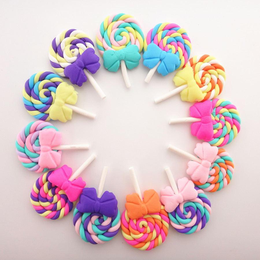 10Pcs/lot Rainbow Colorful Spiral Lollipop DIY Candy Charms Pendant Girls Toys Miniature Decoration Jewelry Making Accessories