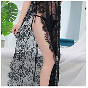Image 3 - Ohyeahlover Short sleeve transparent lace nightgown with belt maxi side split women night robe fishnet dressing gown RL80262