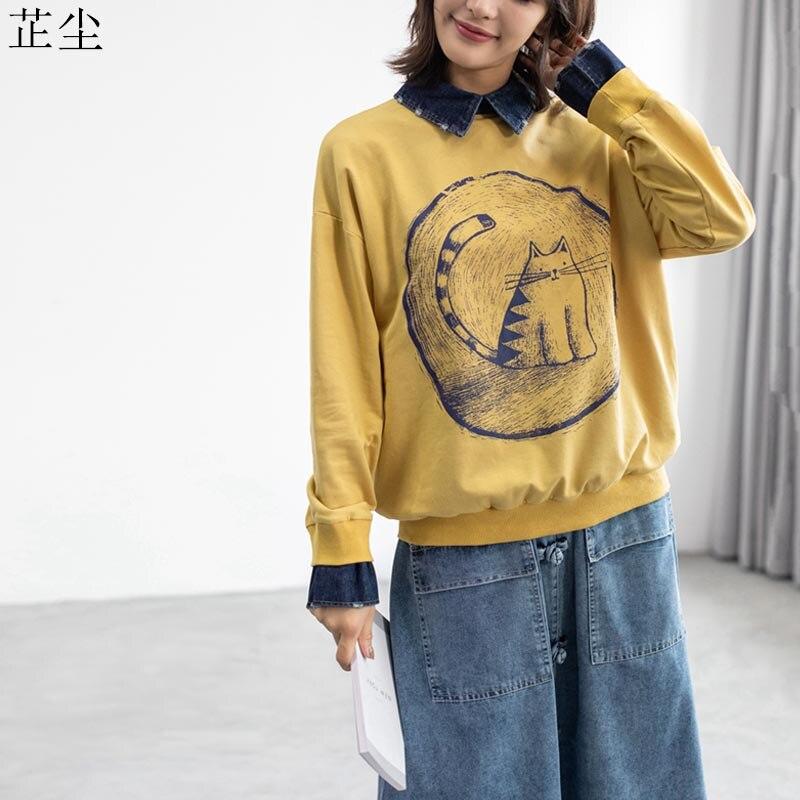 Kawaii Cartoon Print Cat Harajuku Hoodies Sweatshirt Women Oversize Cotton Vintage Pullover Plus Size Hoodie 4XL 5XL Autumn 2019