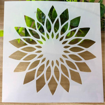 Cake stencils for walls Reusable Openwork Sunflower Flower Stencils Painting Scrapbooking Stamping Album Decorative Template reusable feather stencils for card making stamping gift box polymer clay scrapbooking chalk acrylic painting 5 5 5 5 1pc