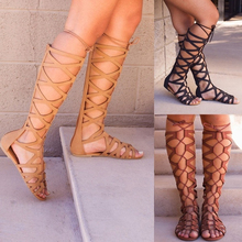 2019 Roman Gladiator Bandage Sandals Women Knee High flat sandalias botas femininas Women Shoes Girls Summer hollow Ankle Boot