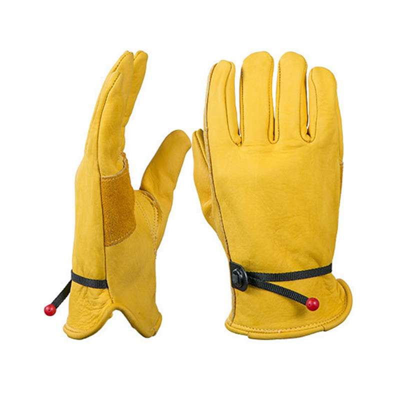 Women Work Gloves Cowhide Leather Motorcycle Fleece Lined Working Gloves Men Women Keep Warm Hunting Hiking Gloves Mittens