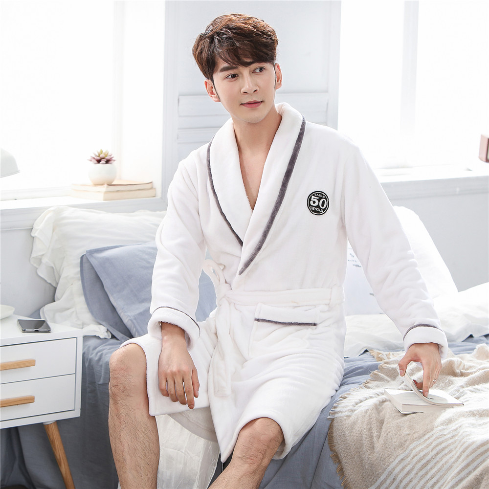 White Winter New Sleepwear Men Robe Sexy Loose Casual Nightgown Bathrobe Warm Thicken V-neck Negligee Kimono Gown Padded Pajamas