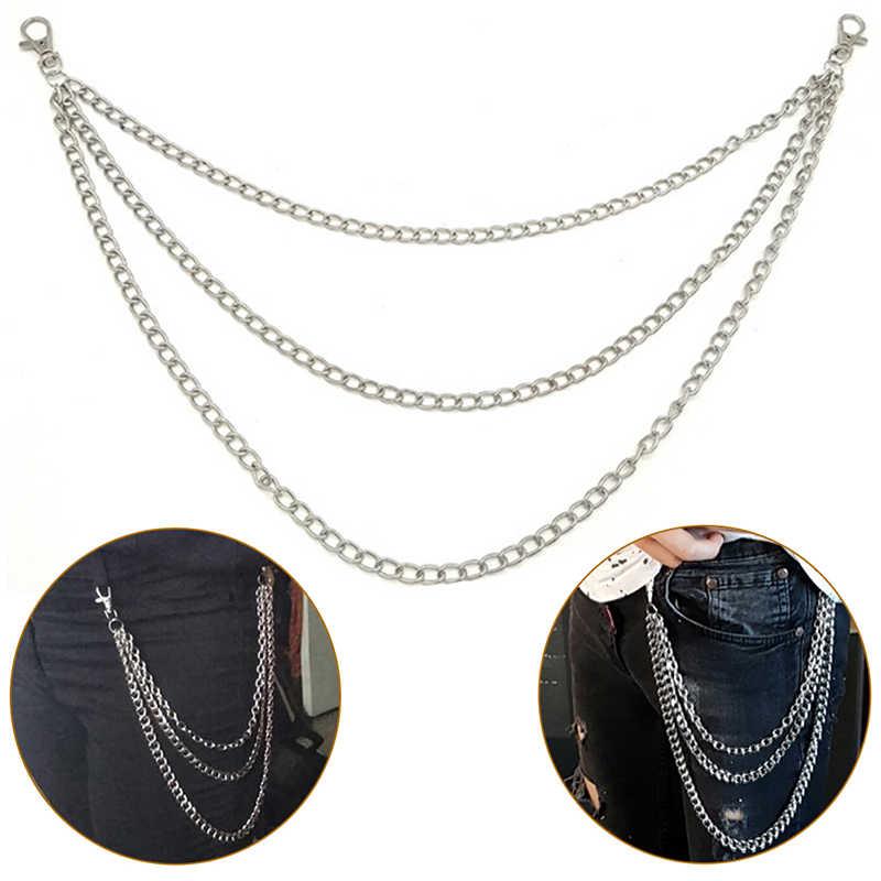 1 camada/2 camada/3 camada moda rock punk gancho calças pant cinto de ligação da cintura corrente de metal carteira de prata jóias masculinas