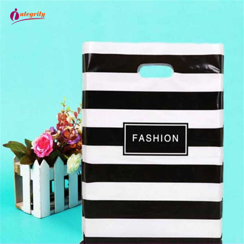 INTEGRITY 15*20cm 50pcs Wedding gifts boutique gifts shopping packaging plastic Handle Bags Jewelry Plastic package storage Bags