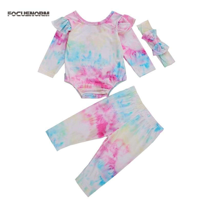 Toddler Kid Baby Girls Tie Dye Long Sleeve Ruffle Romper Tops Pants 2Pcs Outfits
