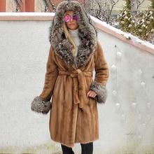 100cm Long Real Mink Fur Coat for Women 2021 New Trendy High Quality Genuine Mink Fur Coat with Silver Fox Fur Hood Overcoats