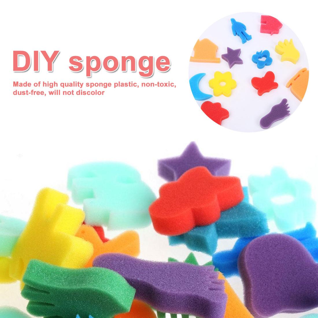 24Pcs Sponge Set Children Kids Art Craft Painting DIY Toy Home Education Toy Baby Educational Doodle Drawing Graffiti Tools