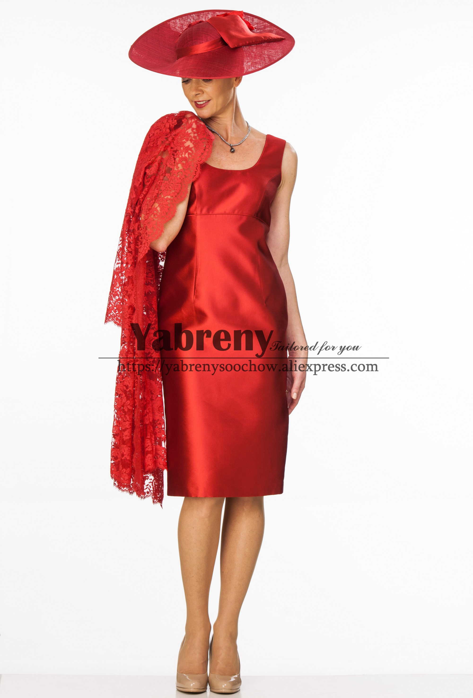 Charming Mother Of The Bride Dress With  Jacket Red Satin Dress