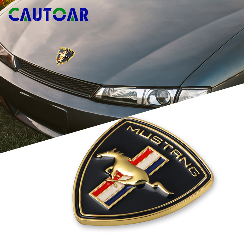 Car Styling 3D Metal Chrome Running Horse Emblem Badge Sticker For Ford Mustang Shelby GT Rear Trunk Decor Accessories