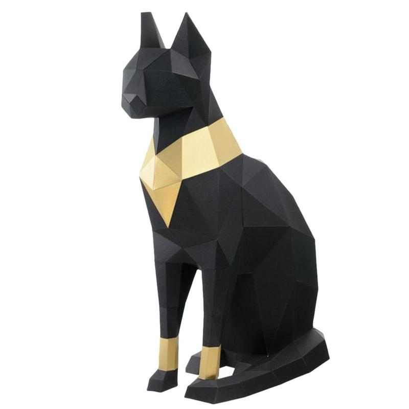 Egyptian Cat 3D Stereoscopic Paper Model DIY Hand Molded Ornaments Toys Three-Dimensional Geometric Origami Home Decor
