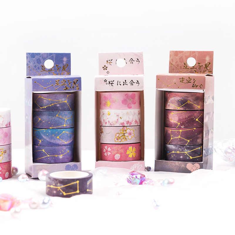 Conjunto de cintas adhesivas Washi de 15mm con diseño de flores de Sakura y el cielo nocturno, 4 Uds. De papel de aluminio dorado, pegatinas para álbumes, diarios y libros E6374