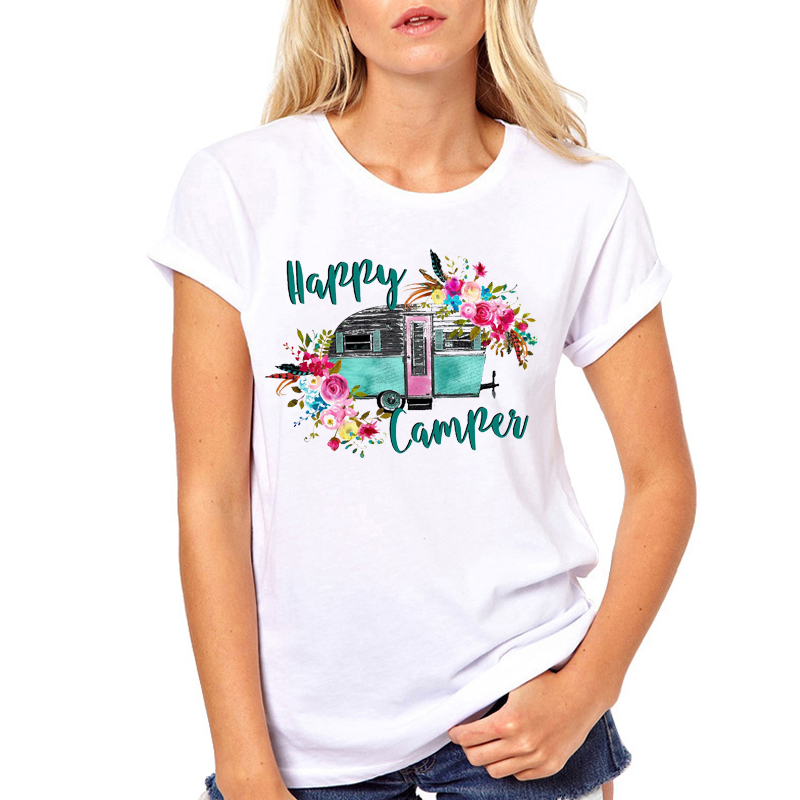 Women Clothes Printing Summer Happy Camper Vacay Ladies Flower Floral Woman  Harajuku Punk Top Casual Tee Shirt T Female T-shirt