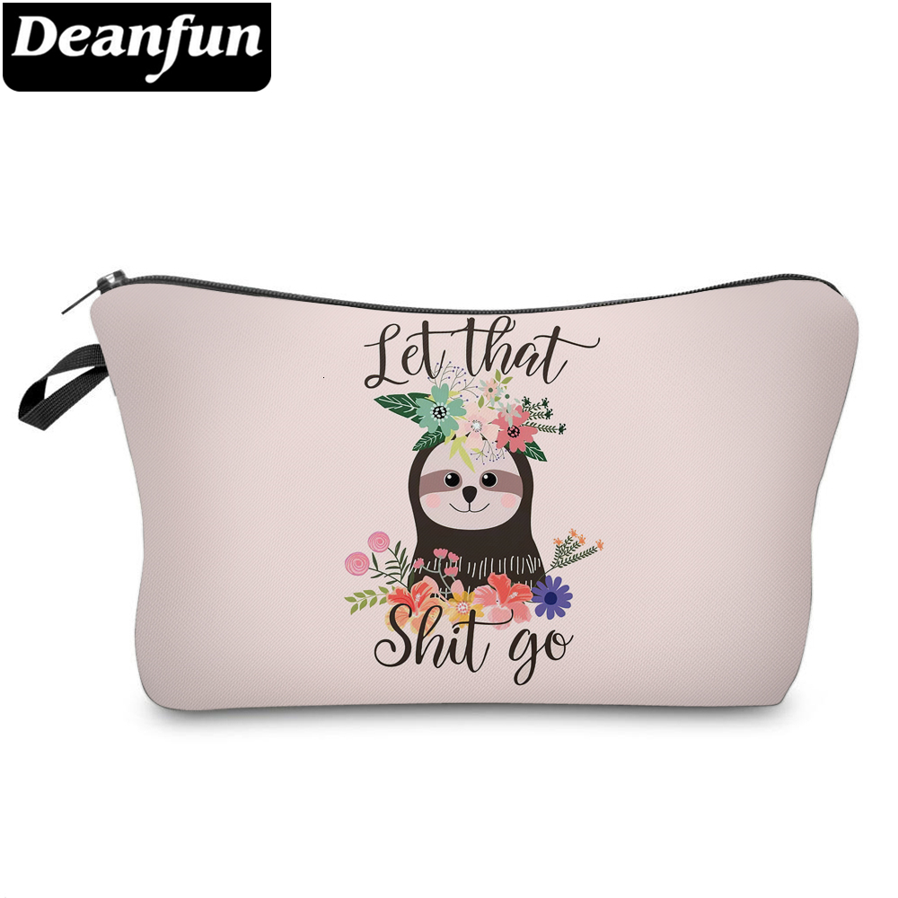 Deanfun 3D Printing Small Makeup Bag Pink Travel Cosmetic Bag Organized Bags For Women Sloths Gifts For Girls 51814
