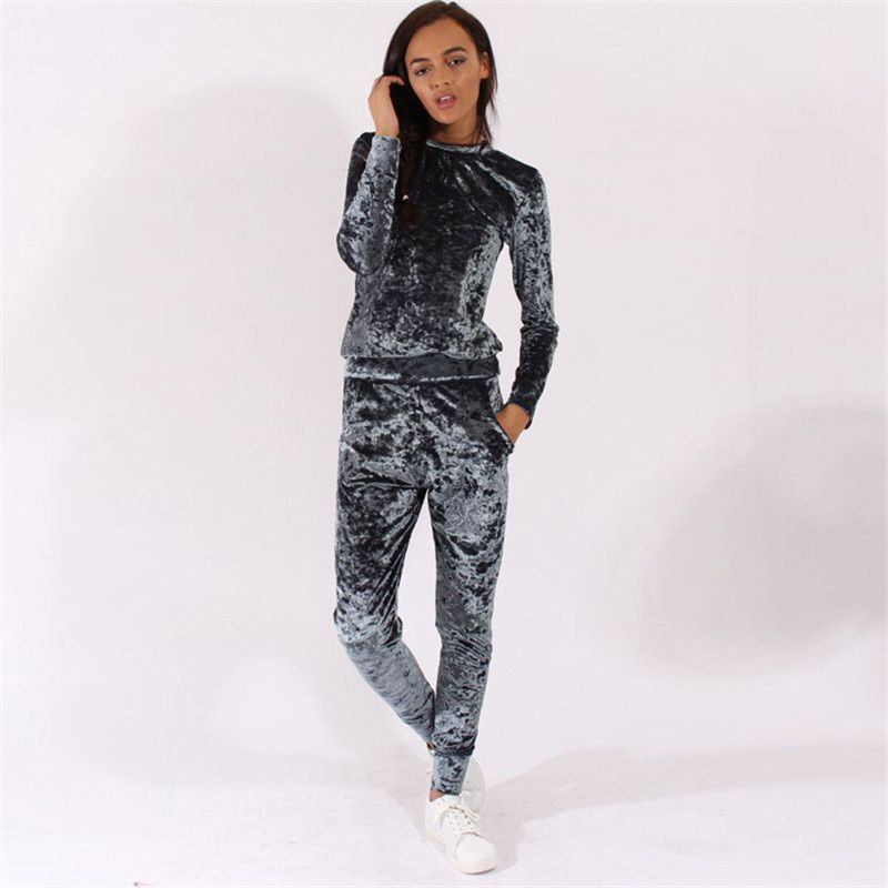 2 Pcs/Set Velvet Tracksuit Women Costume Velvet Set Long Sleeve Top+Pant Velour Tracksuit Sets For Women Sporting Suit