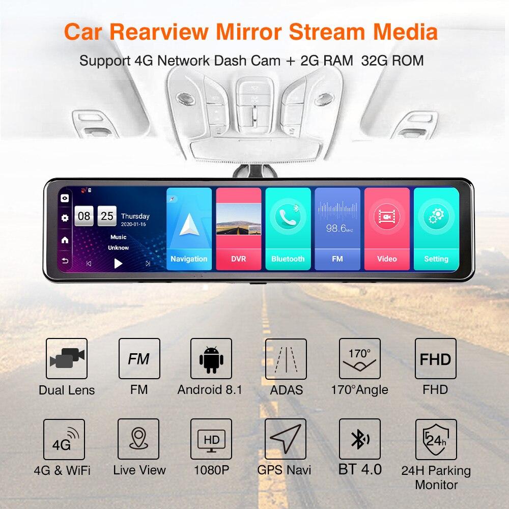 Автомобильный видеорегистратор на Android 8,1, зеркало заднего вида 12 дюймов, потоковое медиа, автомобильное зеркало с двойным HD 1080P, Wi Fi, вид сзади, 2020 новый GPS, 24 часовой парковочный монитор|Видеорегистраторы| | АлиЭкспресс