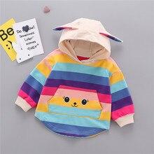 Осенняя толстовка с капюшоном для маленьких девочек; детская полосатая толстовка с капюшоном и ушками; топы; roupa infantil