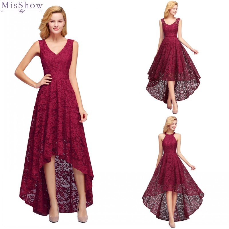 Elegant Long Lace Evening Dress Sexy  V Neck Sleeveless Formal Party Gown A line High Low robe de soiree 2020
