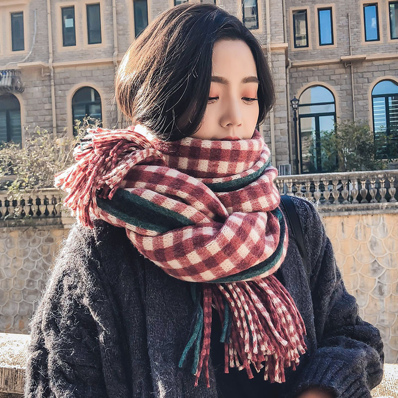 Brand Warm Scarf Female Version Versatile Autumn Winter Student Plaid Thickened Couple Style Department Little Fresh Girl Shawl