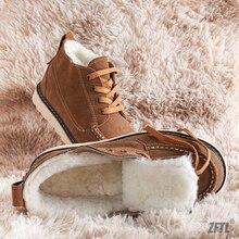 Shoes Short-Boots Lining Sheepskin Winter Men's Casual Cotton ZFTL Man British Wool Non-Slip-Sole