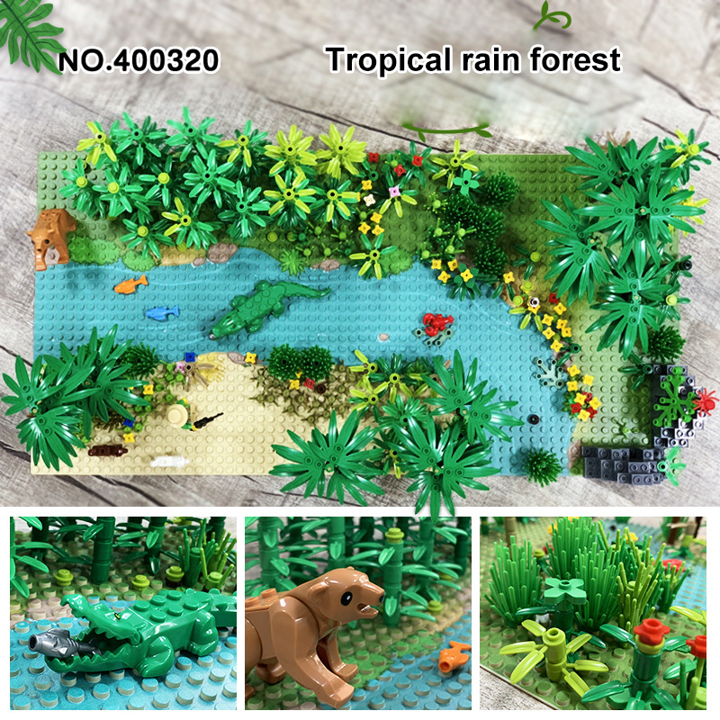 MOC Military Rainforest Baseplate Parts Animal Jungle Flower Tree Plants Building Blocks Assemble LegoINGlys Kids DIY Toys Gifts