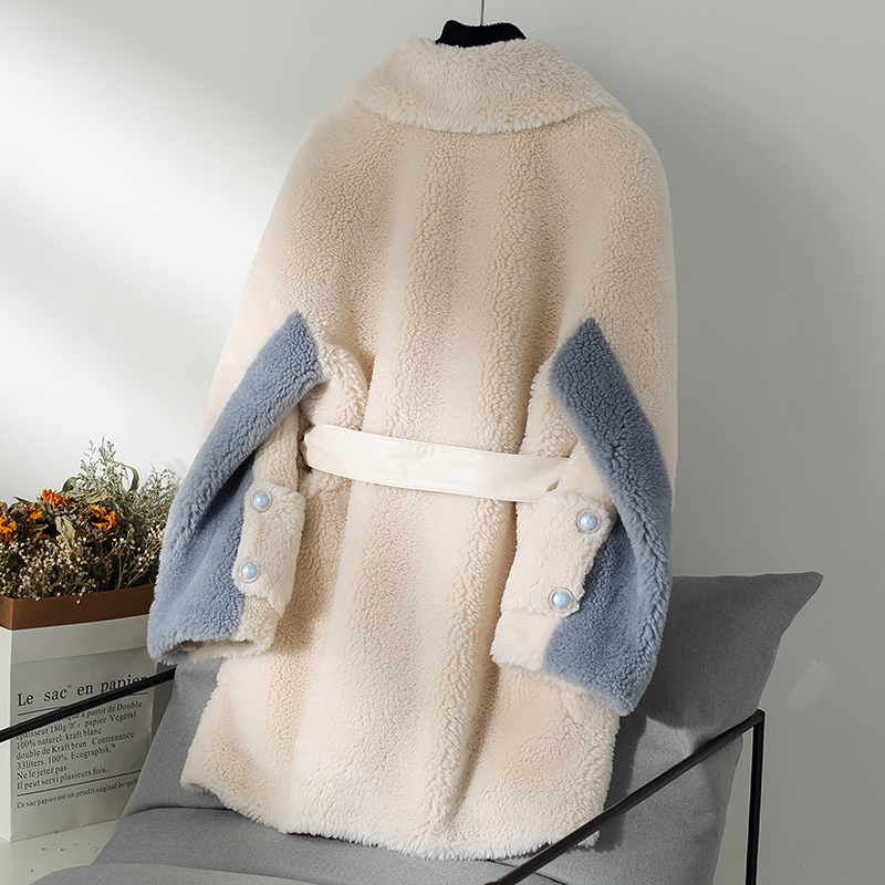 Real Fur Coat Female Elegant Ladies Sheep Shearing Jacket Women Clothes 2019 Korean Vintage Wool Coats And Jackets Hiver 198232