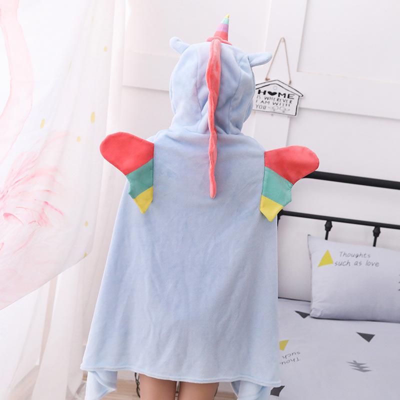 Unicorn Fleece Blanket Hooded Blanket Bed Sofa TV Throw Blankets Cartoon Hoodie Blanket Sweatshirt Christmas Gift for Children 11