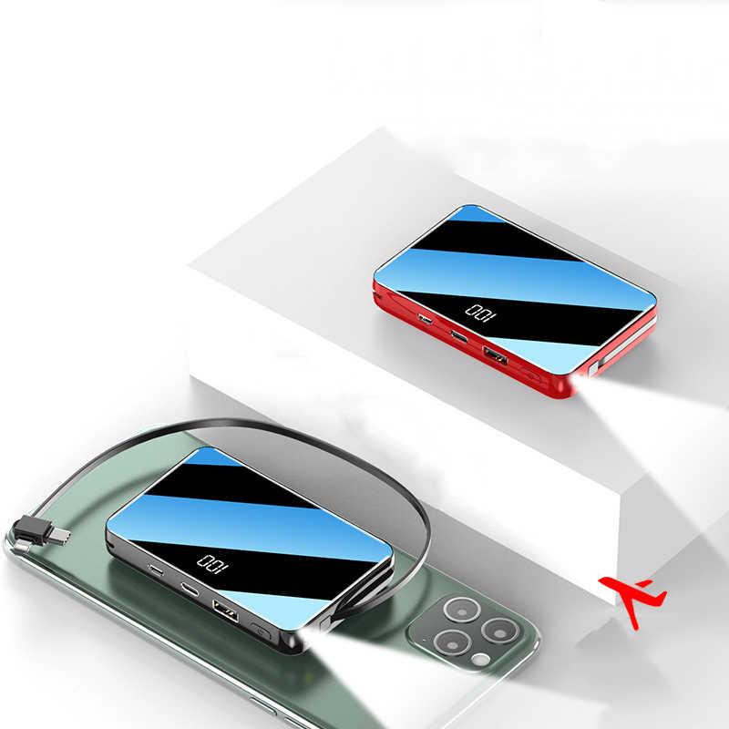 Cargador portátil para iPhone 11 XR Xs, Samsung S9 S20, Xiaomi Powerbank con pantalla de espejo, USB tipo C, Mini banco de energía, 20000mAh