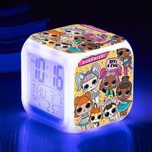 LOL Surprise Dolls LED Light Alarm Clock Cute Cartoon Lols Anime Figures Action Birthday Toys for Girls Gifts 8*8*8CM