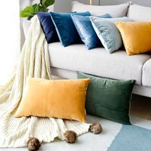 High Quality Furniture Adornment Cushion Cover Solid Color Velvet Waist Pillow Sofa