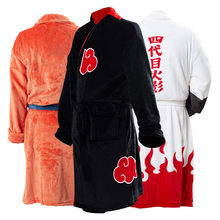 Frete rápido anime robe cosplay akatsuki roupão velo quente camisola robe homens outono inverno casaco pijamas presente de natal