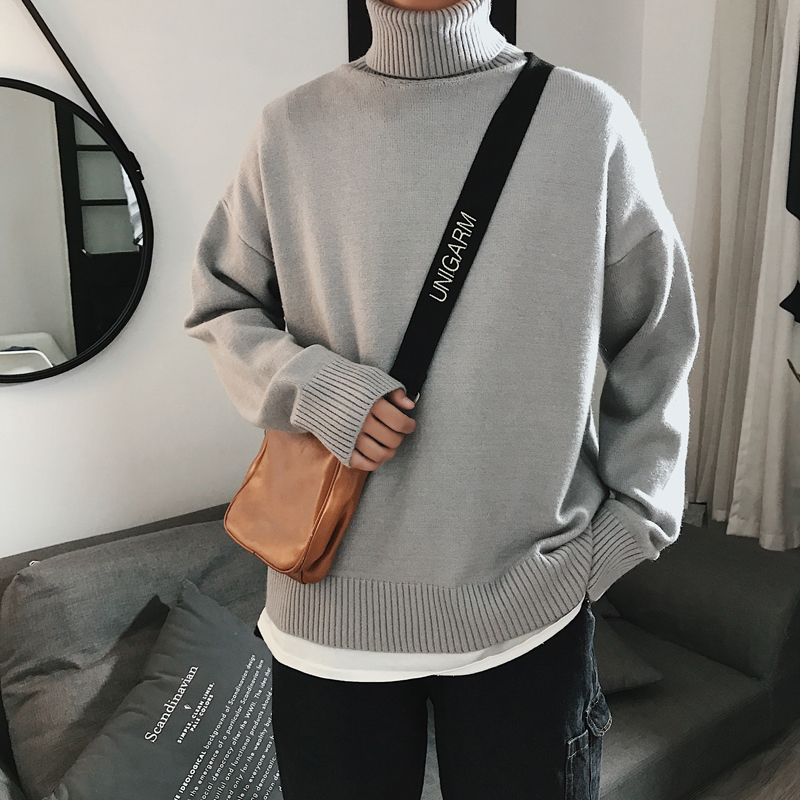 YASUGUOJI New 2019 Autumn And Winter Men Knitted Sweater Soilid Color Men Turtleneck Sweater Casual Loose Pullover Sweater Men