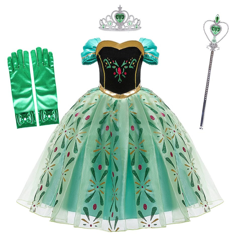 Girls Anna Dress Summer Children Snow Queen Party Princess Costume Kids Halloween Birthday Party Clothes for 3-10 Years