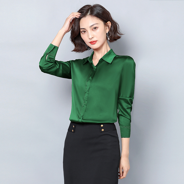 New Women Satin Silk Shirt Spring Autumn Long Sleeve Lapel Collar Office Ladies Work Shirt Women Blouse Casual Elegant Basic Top 4