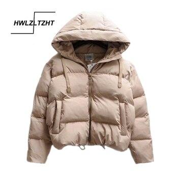 Parka chaude à capuche pour femmes, veste d'hiver rembourrée en coton, manteau de grande taille pour femmes épais, bouffantes, décontracté 1