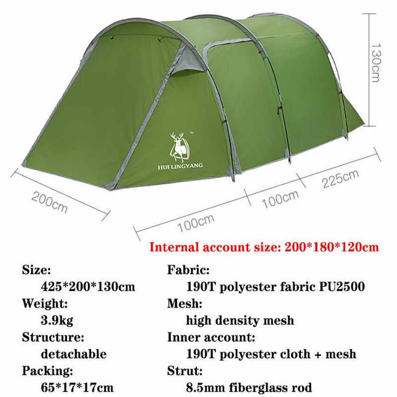 3-4 человек Открытый Кемпинг Палатка 190T полиэстер двойной слой водонепроницаемый большое пространство Экстра функциональная зона Пешие прогулки туристический Кемпинг палатки