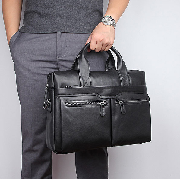 Genuine Leather Men Business Briefcase OK For 14