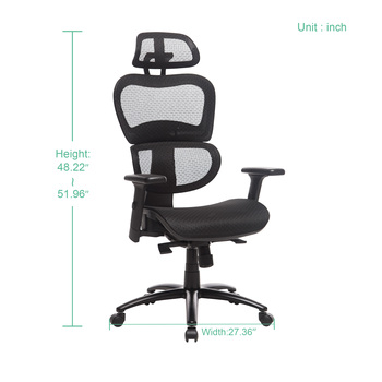 Two Colors Ergonomic Office Chair Mesh Chair Computer Chair Desk Chair High Back Chair with Adjustable Headrest and Armrest-blue 3