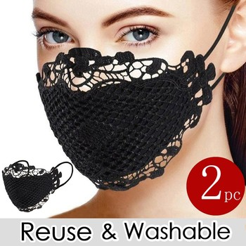 2pc Delicate Lace Applique Breathable Face Cover Reuse Mask Face Mask Mascarilla Earloop Breathable Adjustable Face Cover