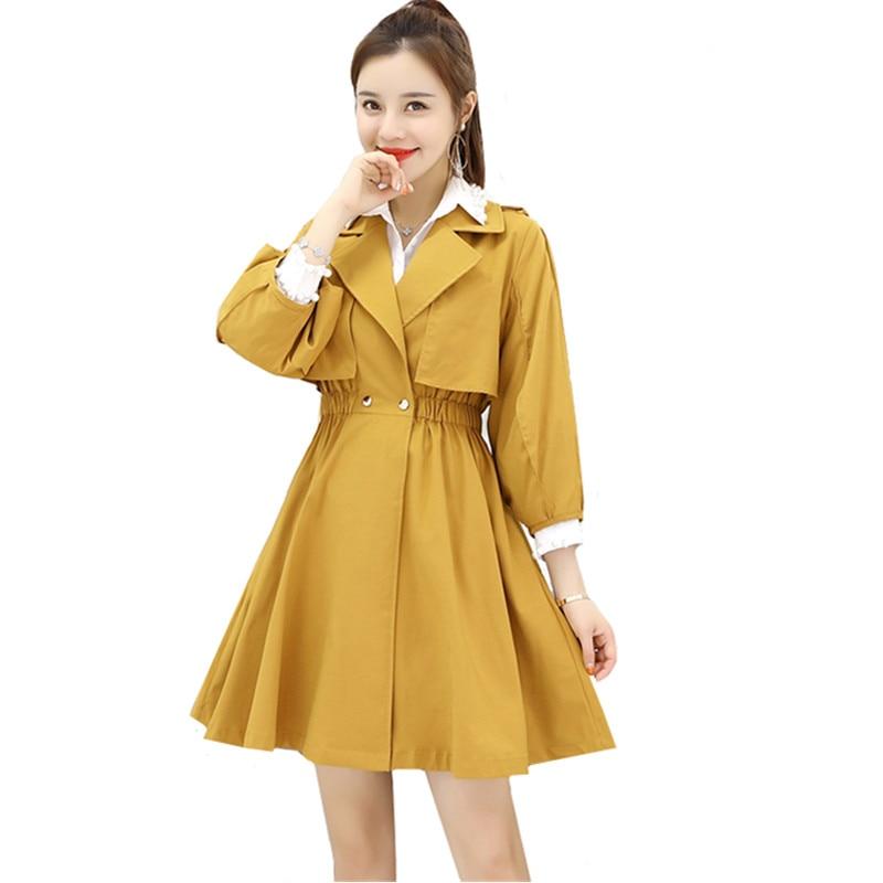 Windbreaker Coat Trench-Dress Spring Female Elegant Yellow Autumn Fashion Long Women