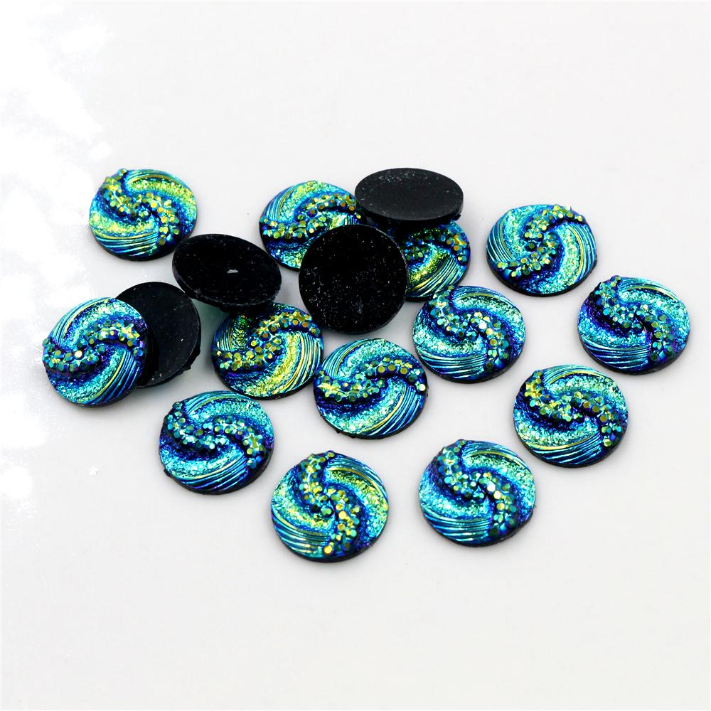New Fashion 40pcs 12mm Blue AB Color Tai Chi Style Flat Back Resin Cabochons Cameo For Bracelet Earrings Accessories-H1-40