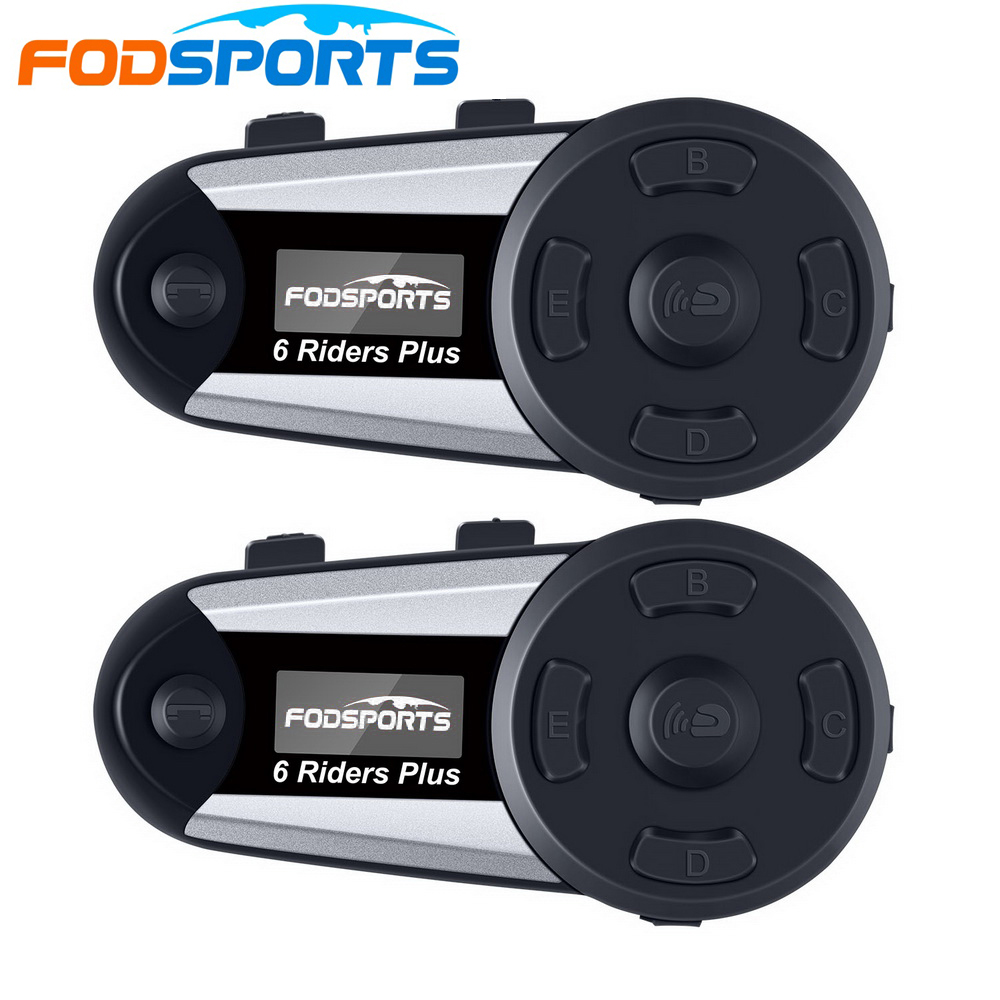 2 Pcs V6 Plus 6 Riders 1200m Bluetooth Intercom Headset Wireless Intercomunicador Interphone BT Full-Duplex Intercom FM LED