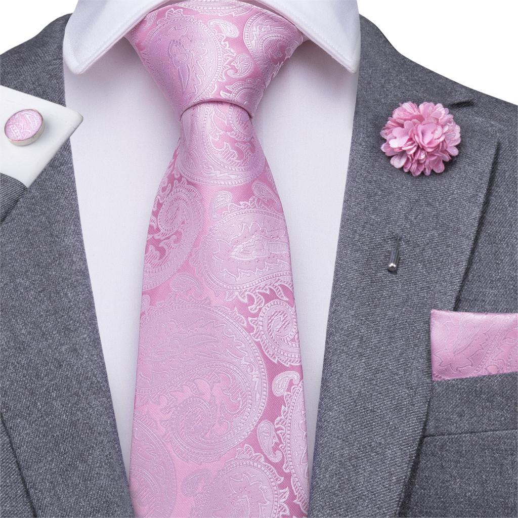Hi-Tie Pink Ties For Men Floral Necktie Paisley Tie Boutonniere Handkerchief Cufflinks Set For Wedding Business Cravat Gift Box