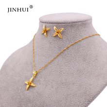 Ethiopian wedding  gold jewelry sets flowers pendant necklace earrings wife gifts for women Dubai African bridal jewellery set