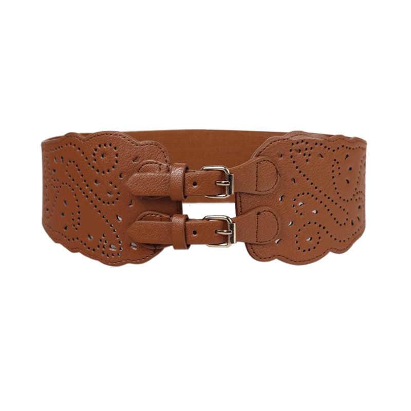 Belt PU Leather Wide Adjustable Women Ladies Corset Waistband Stretchy Retro