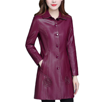 winter parka women m 4xl plus size khaki red black jacket 2019 new korean long sleeve standing collar slim warmth clothing jd521 Leather Jacket Women Wine Red Long PU Faux Leather Coat 2019 New Autumn Winter Korean Slim Black XL-6XL Plus Size Clothing LR247
