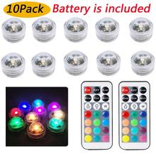 10Pcs/lot Mini Submersible Led Lights with Remote Waterproof Underwater Led Tea Lights Vase Pool Pond Decoration Lighting