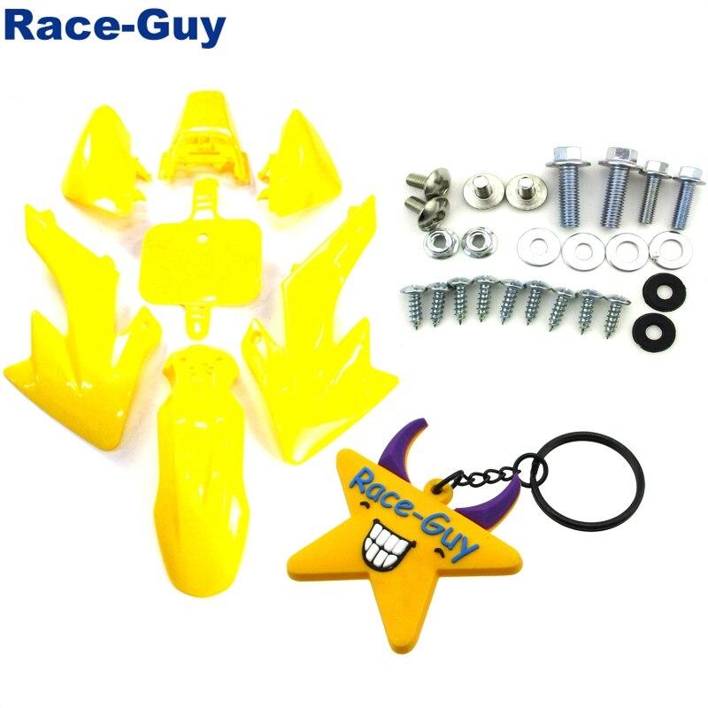 Желтый Пластиковый обтекатель обтекателя тела наборы + Монтажные винты для Honda XR50 CRF50 китайский питбайк SSR SDG 50cc 70cc 90cc 110c