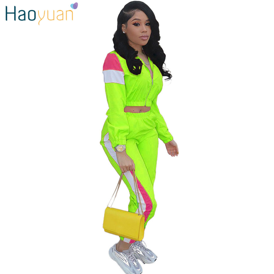 HAOYUAN Plus Size Two Piece Set Women Matching Tracksuit Crop Top Pant Sweatsuit Neon Green Festival Clothing 2 Piece Outfits